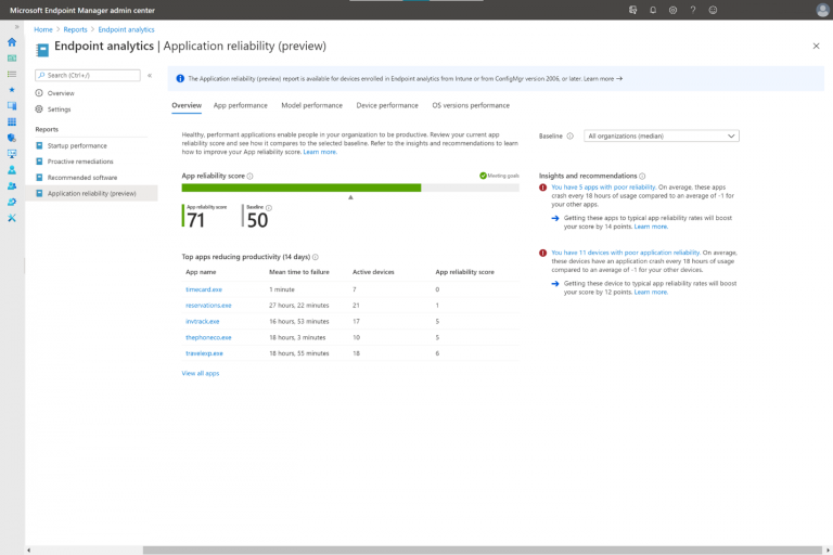 Get insights on application reliability and device restart frequency with Endpoint analytics