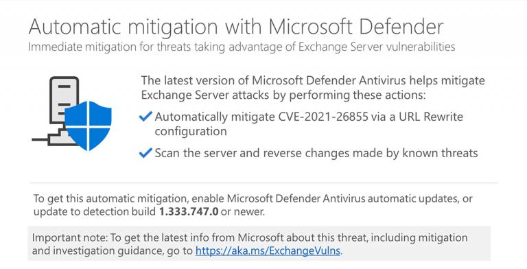 Automatic on-premises Exchange Server mitigation now in Microsoft Defender Antivirus