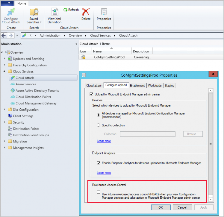Use Intune RBAC for tenant attach with Configuration Manager Technical Preview 2106